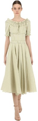 Luisa Beccaria Off The Shoulder Linen Blend Dress