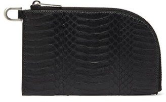 Rick Owens Glossed Snakeskin Pouch - Womens - Black
