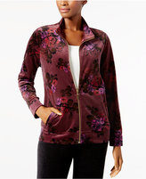 Karen Scott Floral-Print Velour Jacket, Created for Macy's