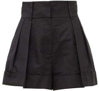 Valentino High-rise Pleated Cotton-blend Shorts - Black