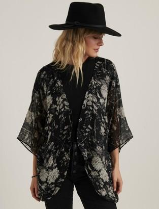 Lucky Brand Floral Tie Kimono