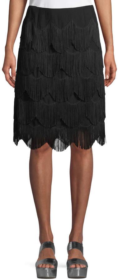 Marc Jacobs Tiered Fringe A-Line Knee-Length Skirt