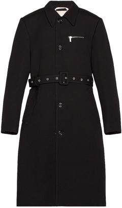 Raf Simons Slim Fit Trench Coat With Zipped Pockets in Dark Navy   FWRD