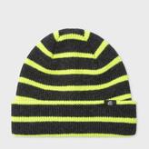 Paul Smith Men's Neon Yellow Stripe Lambswool Beanie Hat