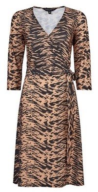 Dorothy Perkins Womens Tall Brown Tiger Print Wrap Dress, Brown