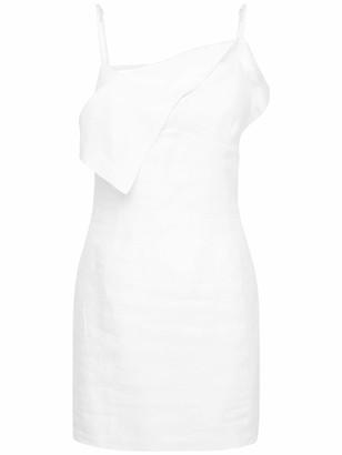 Jacquemus Back Cut Out Linen Mini Dress