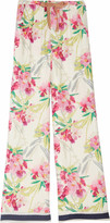 Floral-print washed silk-satin palazzo pants