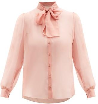 Dolce & Gabbana - Pussy-bow Silk-chiffon Blouse - Light Pink