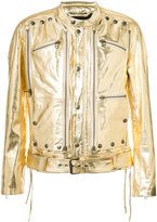 Faith Connexion banded collar metallic jacket - men - Cotton/Lamb Skin/Polyester - XL
