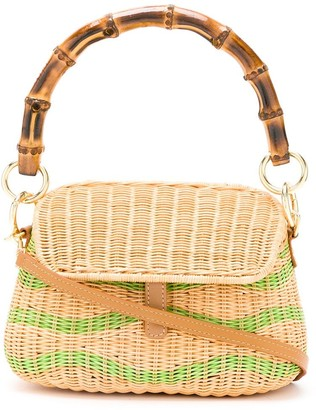 Serpui Marie Bamboo Handle Wicker Bag