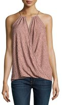 Ella Moss Ribbed Surplice Tank, Heather Copper