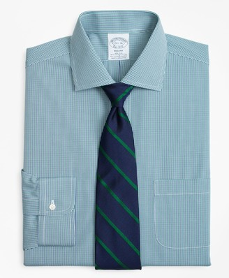Brooks Brothers Stretch Regent Fitted Dress Shirt, Non-Iron Two-Tone Gingham
