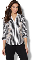 New York & Co. 7th Avenue - Madison Stretch Shirt - Placement-Print Striped Shirt