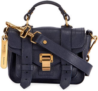 Proenza Schouler PS1 Micro Lux Leather Crossbody Bag, Navy