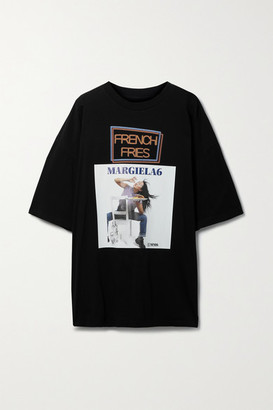MM6 MAISON MARGIELA Oversized Printed Cotton-jersey T-shirt - Black