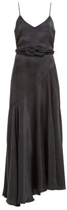Mara Hoffman Nina Bias Cut Satin Dress - Womens - Black