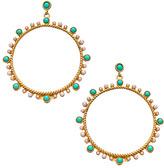 Carolee White Pearl Turquoise Hoop Earrings