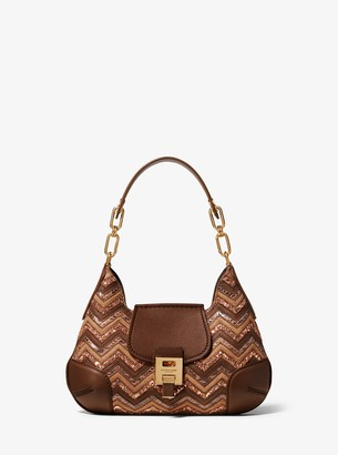 Michael Kors Bancroft Small Chevron Calf Leather and Glitter Shoulder Bag