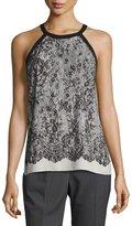 T Tahari Lace-Print Sleeveless Halter Top, Black
