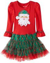Nannette Toddler Girl Santa Applique Mesh Skirt Dress