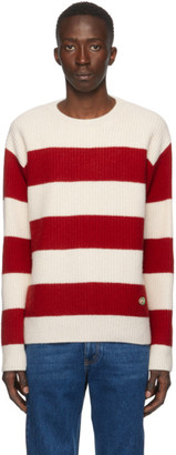 Gucci Red and Off-White Stripe GG Sweater