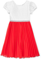 Sweet Heart Rose Lace Pleated Party Dress, Little Girls (2-6X)