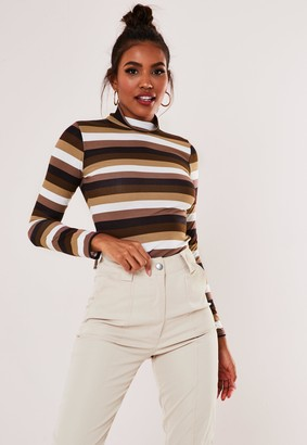 Missguided Burgundy Stripe Funnel Neck Top