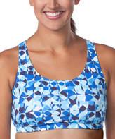 Leading Lady Blue Geo Seamless Cotton Racerback Sports Bra - Plus Too