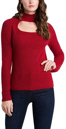1 STATE Keyhole Mock Neck Sweater (Vibrant Red) Women's Clothing