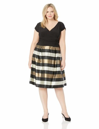 SL Fashions Women's Plus Size Tea Length Tuck Neck Fit and Flare Dress