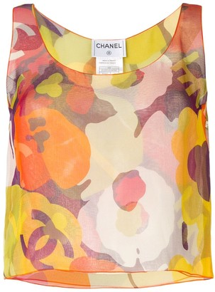 Chanel Pre Owned 2000s Sheer Floral Print Blouse