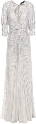 Jenny Packham Twisted Sequined Silk-chiffon Tulle Gown