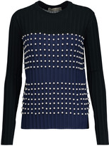 Emilio Pucci Faux pearl-embellished ribbed stretch-knit sweater