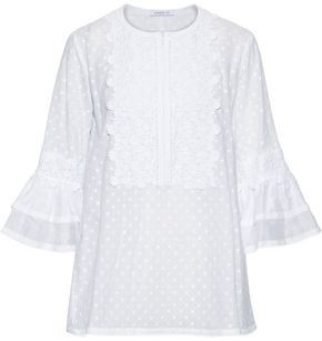 Andrew Gn Guipure Lace-appliqued Swiss-dot Cotton And Silk-blend Blouse