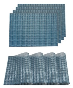 """Dainty Home Checkers Woven Textilene Waterproof, Heat & Stain Resistant Washable 13"""" x 19"""" Placemat - Set of 4"""