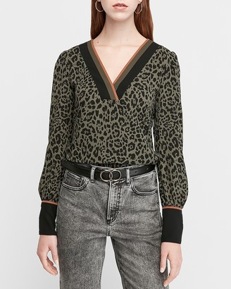 Express Leopard Print V-Neck Color Block Top