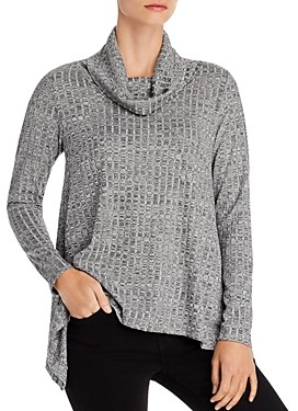 Status by Chenault Metallic Ribbed Cowl Neck Sweater