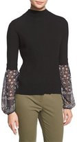 Veronica Beard Moon Ribbed Mixed-Media Sweater, Black