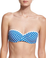 Tory Burch Regatta Underwire Bandeau Swim Top, Blue/White