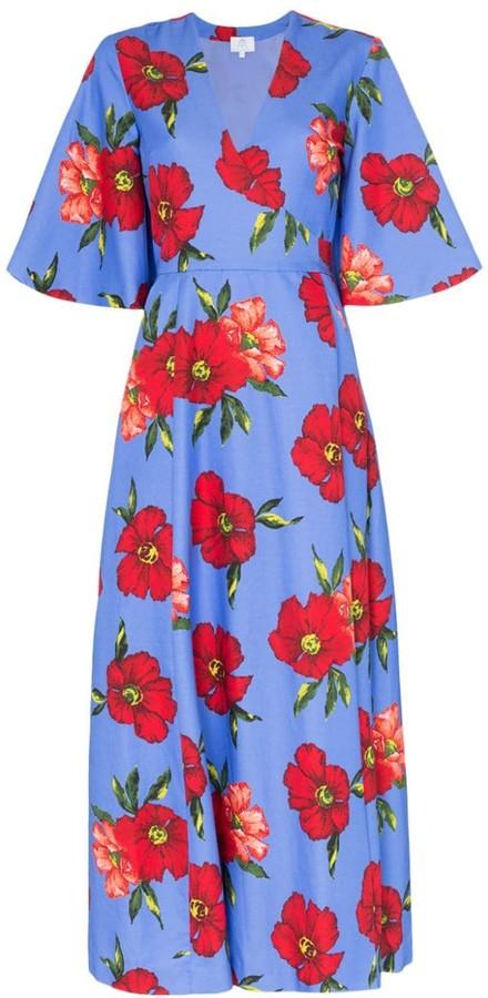 Rebecca De Ravenel floral print silk wrap dress