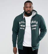 Tommy Hilfiger PLUS Full Zip Hoodie Logo Applique in Dark Green