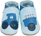 Starchild shoes Boys Soft Leather Baby Shoes Tractor Baby Blue