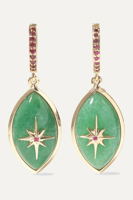 Marlo Laz Micro Eyecon 14-karat Gold, Jade And Ruby Earrings - one size