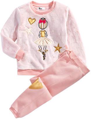 Epic Threads Little Girls 2-Pc. Faux Fur Ballerina Sweatshirt & Jogger Pants Set
