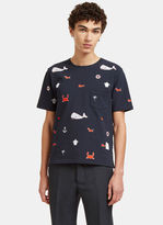 Thom Browne Men's Embroidered Sea Motif Crew Neck T-shirt In Navy