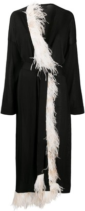 Alanui Feather Fringe Knit Kimono Embassy Black