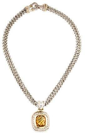 David Yurman Citrine & Diamond Pendant Necklace