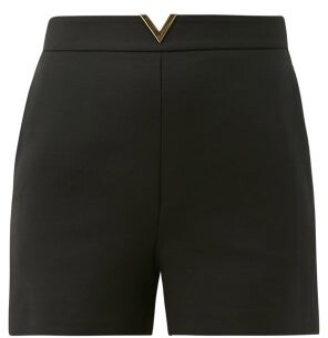 Valentino V-waist Wool-blend Twill Shorts - Black