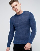 Brave Soul Mens Crew Neck Knitted Sweater with Beehive Knit