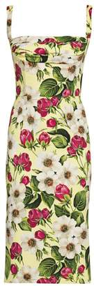 Dolce & Gabbana Charmeuse Floral-Print Sheath Dress